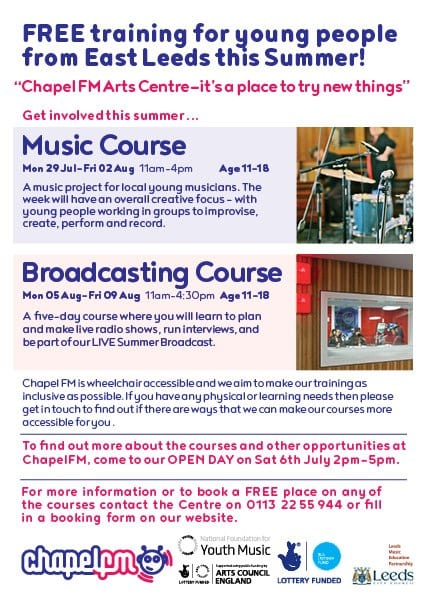 Chapel FM Arts Centre Summer Music Courses 2019 | North